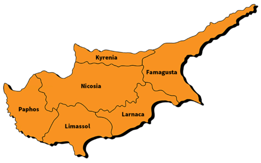 Bản đồ cộng hoà Síp (Cyprus)